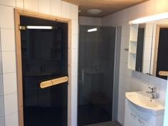 Tilava kylpyhuone. Suihkussa lasiovi.