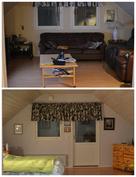 Yläkerran huoneet, makuuhuoneesta käynti parvekkeelle
