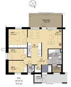 Pohjapiirros 4h+k 76,5 m²
