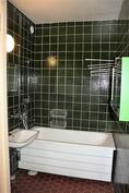 kylpyhuoneessa on amme ja suihku