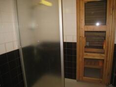 Suihkuseinä ja käynti saunaan.
