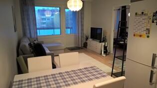 Olohuone keittiöstä kuvattuna.