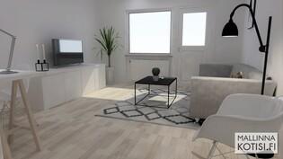 3D mallinnus kalustetusta olohuoneesta