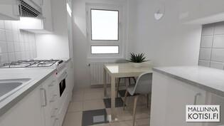 3D mallinnus kalustetusta keittiöstä