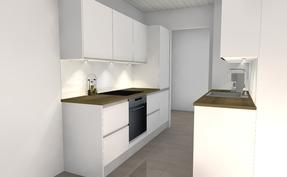 3D mallikuva juuri tämän asunnon keittiöstä ja alustavasta suunnitelmasta
