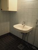 Alakerran WC. Uusi lattialaatta. Entinen, joskaan ei alkuperäinen seinälaatta.