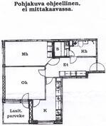 Olohuoneen ja keittiön välisen seinän saa halutessaan purettua.