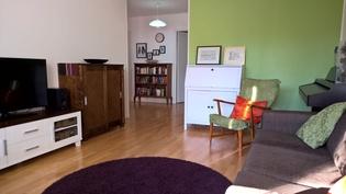 Olohuone, näkymä eteiseen päin, taustalla keittiön ovi