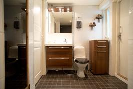 Kylpyhuoneesta käynti takapihan terassille
