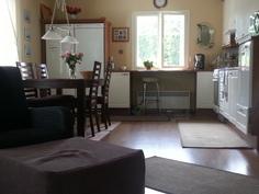 Keittiö ja olohuone ovat avointa ja yhtenäistä tilaa.