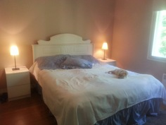 Alakerran makuuhuone 13,5 m², jossa erillinen vaatehuone 2,5 m². Isot ikkunat, joista näkymä metsään
