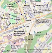 Keskeinen sijainti päiväkotien, koulujen, palvelujen, liikenneyhteyksien ja ulkoilumaatojen lähellä