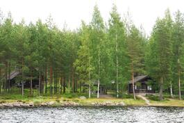 Rakennukset järveltä päin kuvattuina.