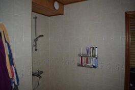Pesuone kaakeloidut seinät ja lattia