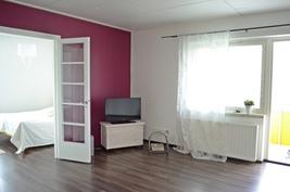 Olohuone on tilava ja käytännöllinen.