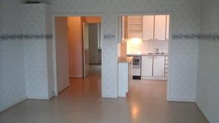 Olohuoneesta keittiön ja makuuhuoneen suuntaan