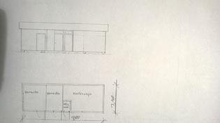 Varastorakennuksen piirrustus