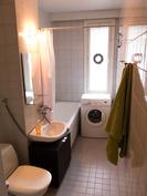 Kylpyhuoneeseen mahtuu pesukone ja tarvittaessa kuivausrumpukin torniin