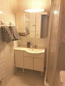 kylpyhuone suihkukaapilla sekä paikka pesukoneelle