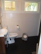 Pesuhuone - Ikkunat talon takapihalle, terassille