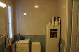 Yläkerran ikkunallinen WC, jossa suihku