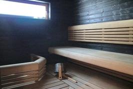 Saunassa Lapin Lauteen muotolauteet sekä Harvian aina valmis Forte -kiuas.