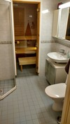 WC ja kylpyhuone. Suihkunurkkaus, jossa lasiovi