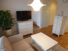 Olohuoneen ja makuuhuoneen välissä tilaa säästävä tyylikäs lasi-liukuovi