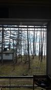 Näkymä saunaosaston lasitetulta terassilta