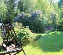 Takaterassin näkymiä vehreään puutarhaan