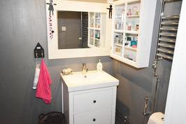 Kylpyhuoneen seinät mikrosementtiä, kylpyhuone remontoitu noin 2 v. sitten