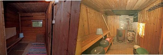 Piharakennuksen sauna ja pukuhuone