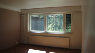 Iso olohuone josta käynti omalle pihalle, ikkunat länteen