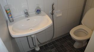 WC-tilassa seinät ja lattia laatoitettu, avattava ikkuna