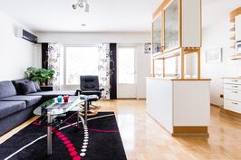 Olohuone/keittiö yhtenäistä tilaa