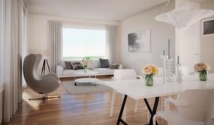 esimerkki 96,5 m2:n huoneistosta