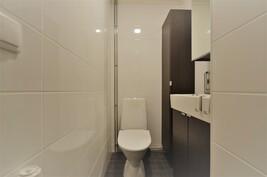 Erillisessä wc:ssä on kaikki uusittu tyylikkäästi