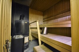 Sauna + kaksi kiuasta Aito-kiuas ja puukiuas