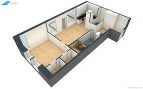 Huoneiston 3D-pohjakuva