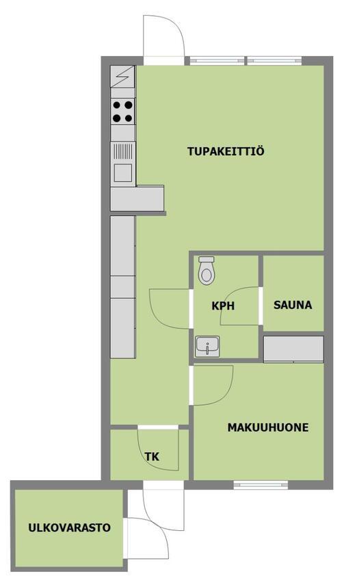 Myydaan Rivitalo Kaksio Siikainen Keskusta Poliisintie 2