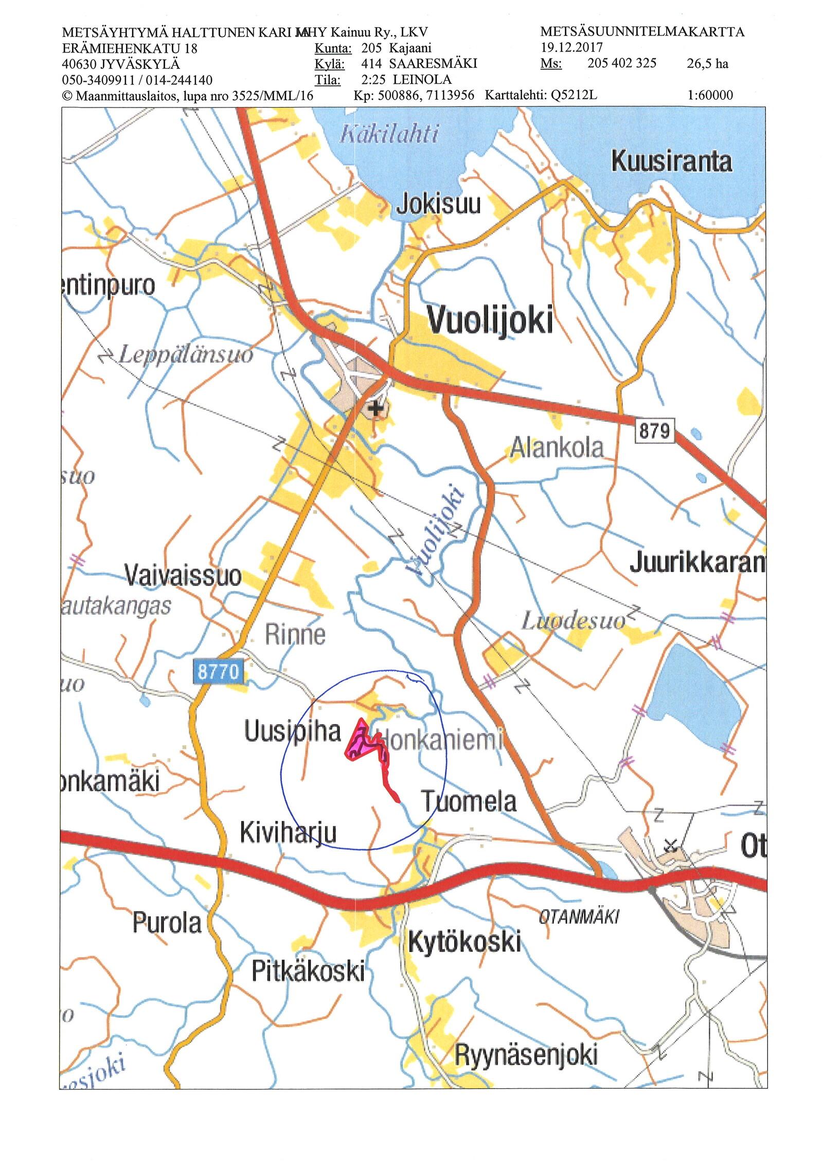 For Sale Parcel of land Kajaani Vuolijoki Palopurontie Etuovi