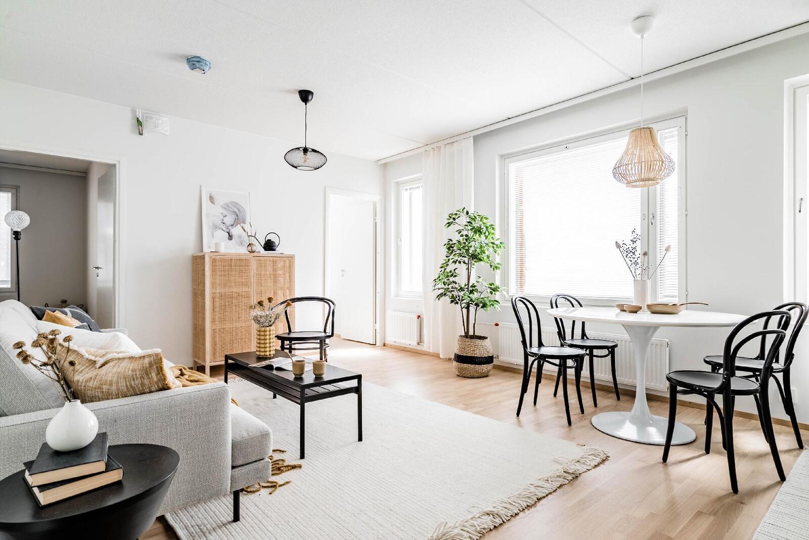 Esittelyasunto C60, 2h, k, s, 51 m², olohuone ja ruokailutila