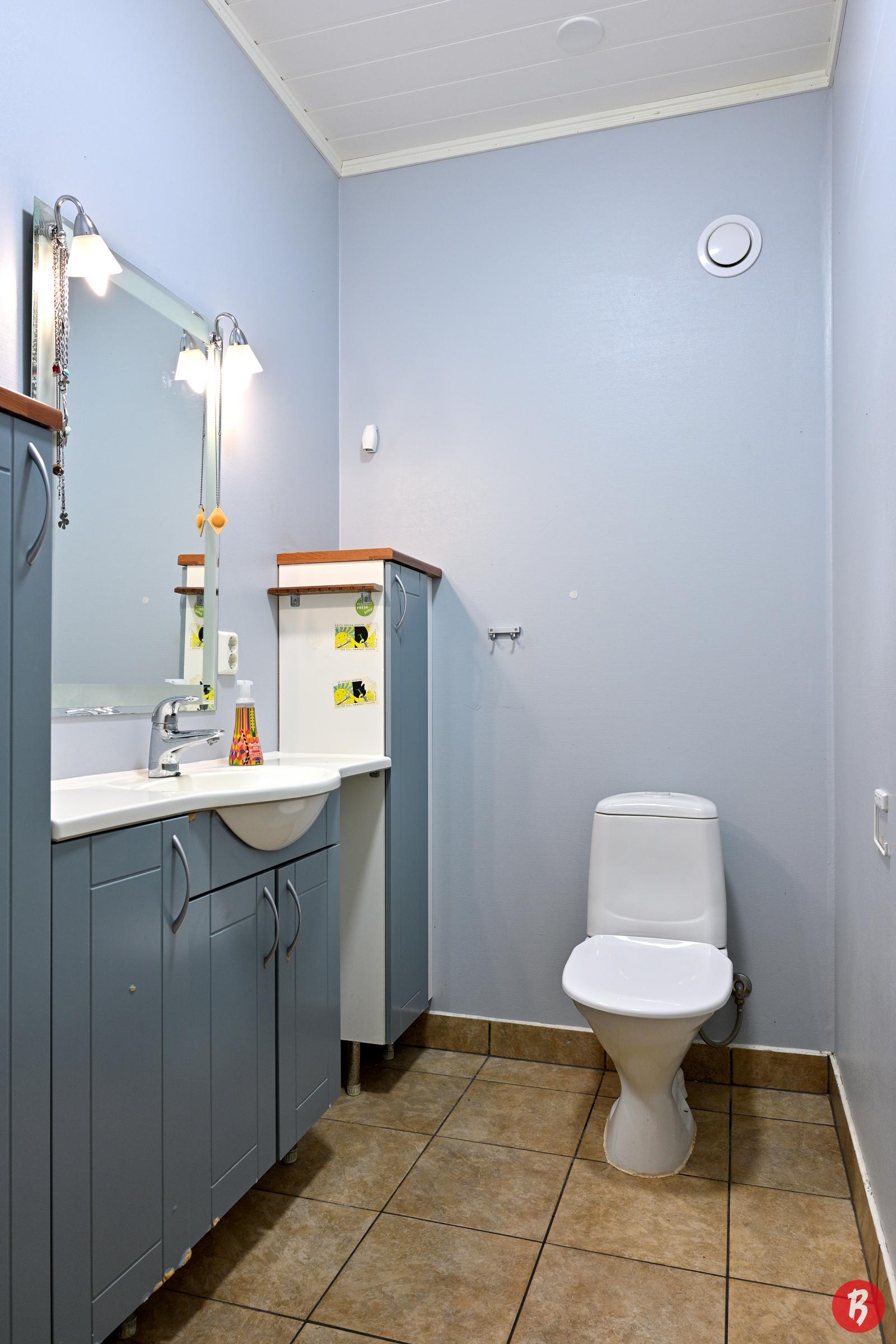 Alakerran erillinen wc, johon kulku eteisestä.