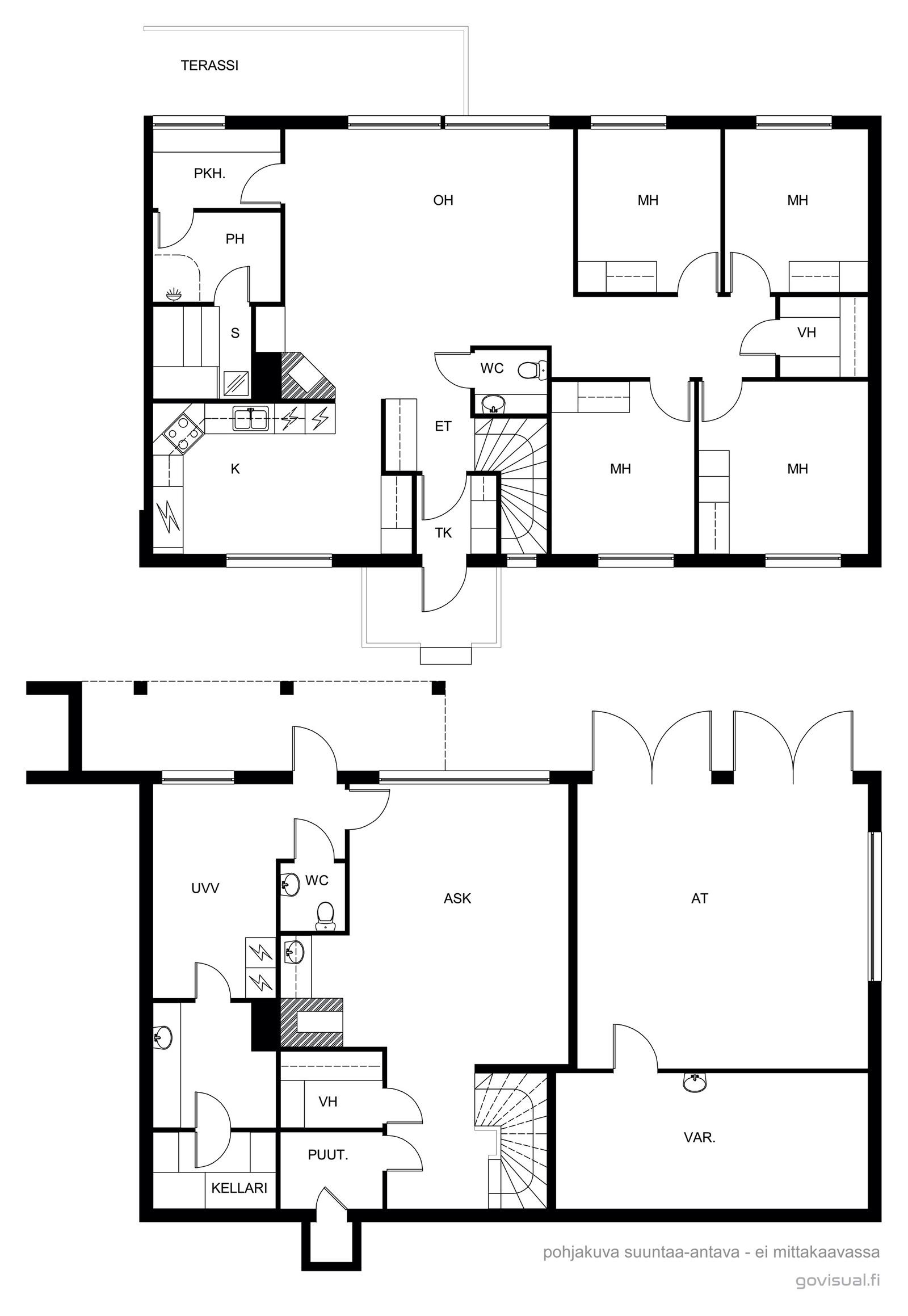 asunto 1, ylä ja alakerta, 116,5 m2 / kerros