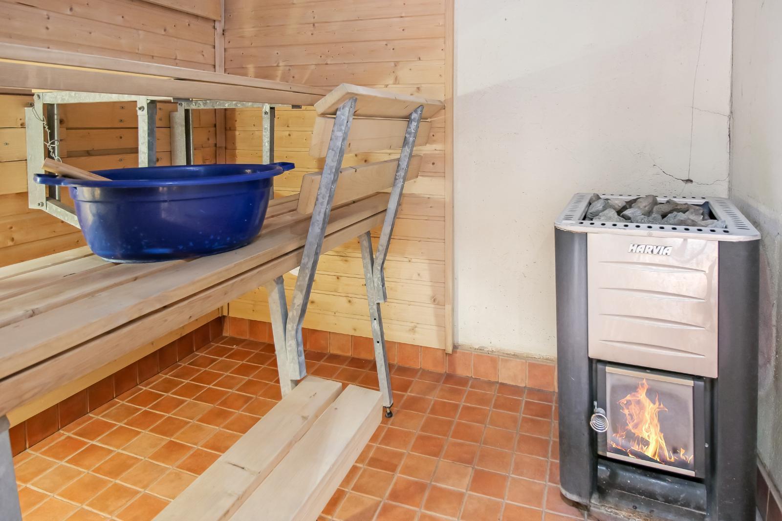 Saunassa puilla lämmitettävä kiuas.