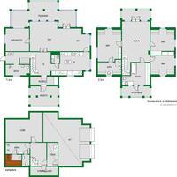 Erinomainen pohjaratkaisu: kolme kerrosta, 6 huonetta sekä askarteluhuone, 3 kylpyhuonetta ja 2 erillistä wc:tä