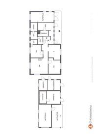 Pohjapiirustus talosta ja piharakennuksesta