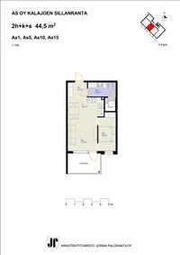 44,5 m2 huoneisto