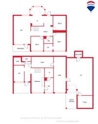 ison asunnon pohjakuva, ohjeellinen ei mittakaavassa