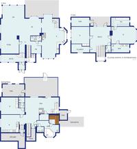 Pohjakuva talon kolmesta kerroksesta